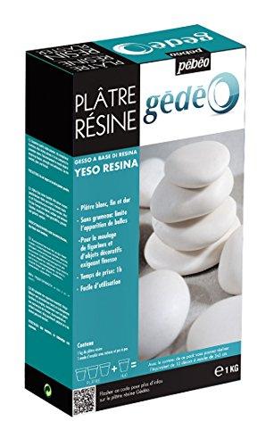 Pébéo - Gédéo Plâtre Résine 1 KG - Plâtre pour Moulage et Coulage d'Objets Fins - Plâtre Moulage Blanc Prise Rapide - 1 KG