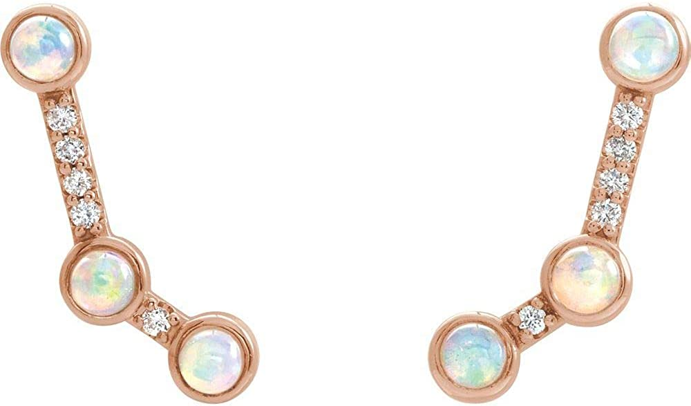 Solid 14k Rose Gold Ethiopian Opal and .08 Cttw Diamond Ear Climbers (19mm x 6.9mm)