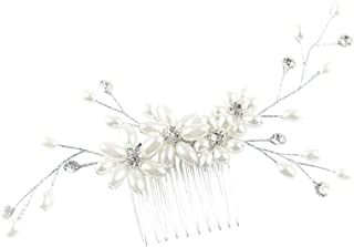 Rosemarie Collections Women's Beautiful Crystal and Faux Pearl Hair Spray Comb