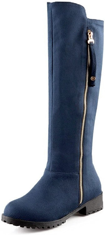 WeiPoot Women's Imitated Suede High-Top Solid Zipper Low-Heels Boots