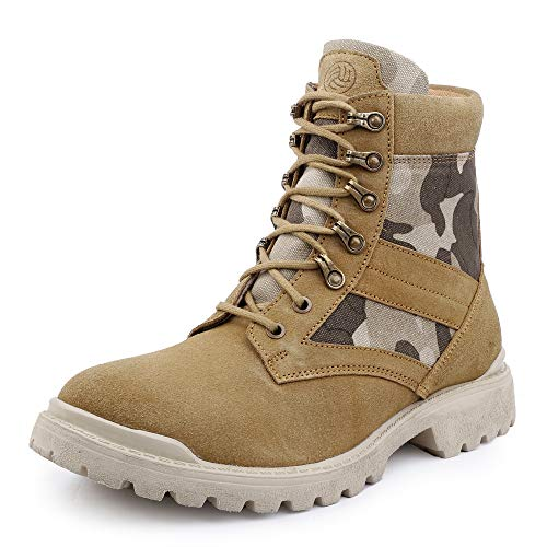 Bacca Bucci® Men's Military Jungle boots leather Suede Speed Lace Desert Boots Combat Outdoor tactical/light weight- Tan