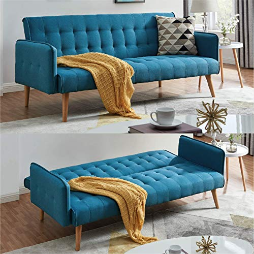 Scandi Scandinavian Style Chic Contemporary Sea Blue Comfortable Three Seater Sofa Furniture Folding Click Clack Sofa Bed Fabric Cushions Settee Couch Solid Wooden Feet Fashionable Piping Detail