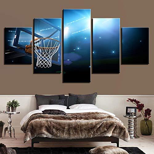 dxycfa Fünf Aufeinanderfolgende Gemälde Basketball Stehen Wandbild Bild Format Wandbilder Wohnzimmer Wohnung Deko Kunstdrucke 5 Teilig 150X80 Cm150Cmx80Cm