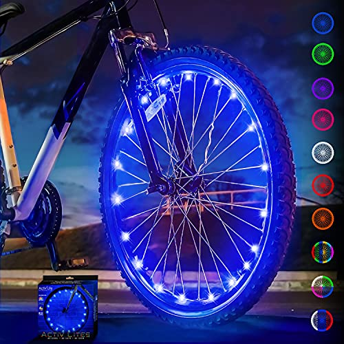 Activ Life Bike Lights for Wheels (1 Tire, Blue) Best Birthday Gifts for Boys, Men & Teens - Stocking Fillers 5 6 7 8 9 10 11 12 Year Old. Top Unique 2021 Christmas Ideas for Him, Dad, Brother, Uncle