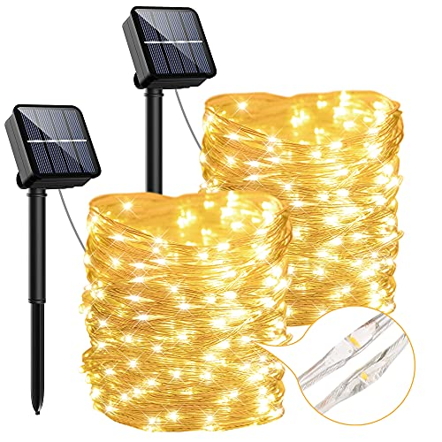 Outdoor Solar String Lights, 2-Pack Each 44.3ft 120LED Solar Powered Fairy Lights with 8 Lighting Modes, Waterproof Cooper Wire Lights for Patio, Garden, Wedding, Party(Warm White)