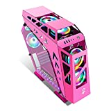 JF-TVQJ Computer Case Gaming Case with 6 Pcs Fans Computer Case Full Tower ATX, Full Tempered Glass Side Panel - Cooling Ready -3.0 USB Port,for Home and Office Environments (Color : Pink)