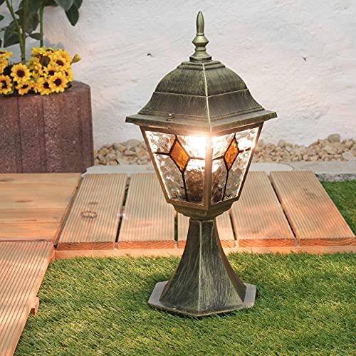 Lámpara de base rústica en cristal antiguo dorado de aluminio H:42cm E27 alumbrado de camino casa jardín balcón patio terraza