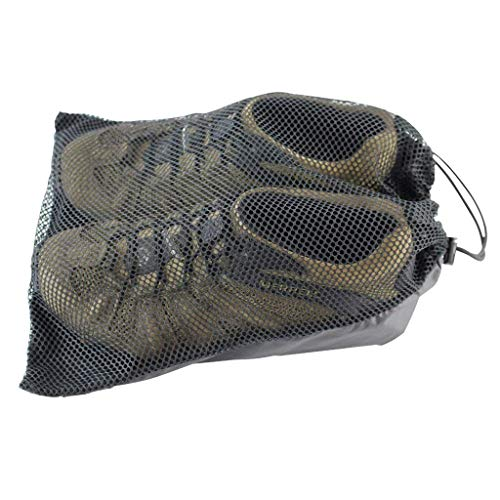 Polyester Mesh Shoe Bag - 11 in x 14 in - SGT KNOTS - Paracord String - Black