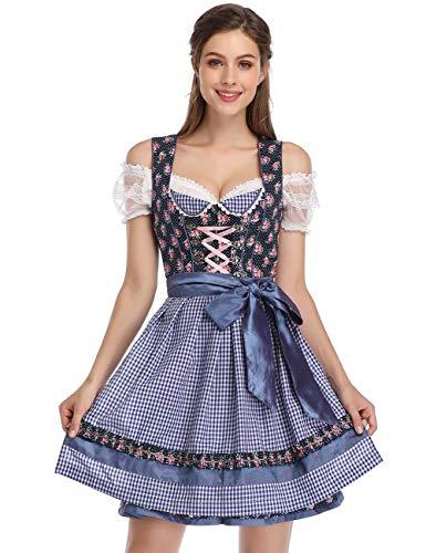 KOJOOIN Trachtenkleid Damen Dirndl Kurz mit Stickerei Exklusives Designer für Oktoberfest - DREI Teilig: Kleid, Bluse, Schürze Rot Blau...