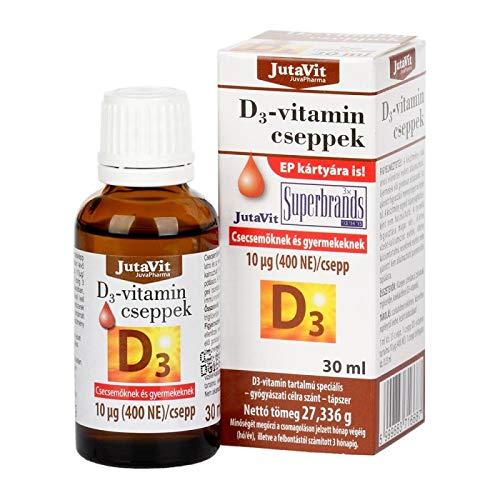 JutaVit Vitamin D3 Drops Baby, Infants, Children, Adolescents, 30ML,400iu per Drop, 1ML = 33 Drops, Long Last Treatment