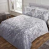 Sleepdown Juego edredón con Fundas de Almohada (220 cm x 230 cm), diseño Floral, Color Blanco y Plateado, Poliéster y algodón, White Silver, Matrimonio