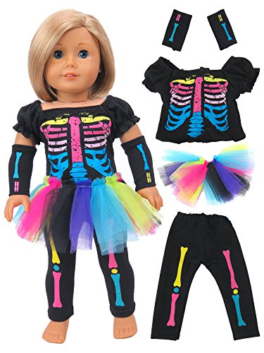 American Fashion World Electric Neon Skeleton Girl Halloween Costume Fits 18 inch Doll
