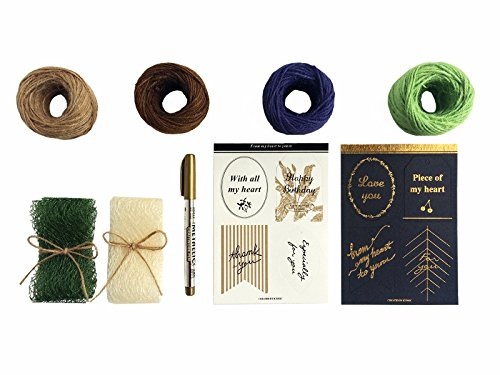 Hopulant Kraft Holiday Gift Wrapping Paper Flowers for All Occasion, with 4 Hemp Ropes, 2 Greeting Cards, 2 Ribbons and 1 Golden Pen