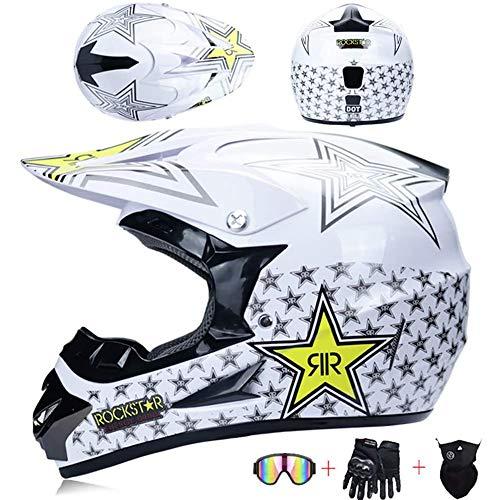 AKBOY Erwachsene Motorradhelm Herren Motocross Helm Kinder mit Brille, Weiß Stern, Fullface BMX Helme Rennradhelme Mountainbikes Dirt Bike Vollhelm Off-Road Sturzhelm mit Handschuhe Maske,M