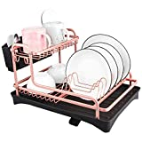Never Rust Aluminum Dish Rack and Drain Board with Utensil Holder, Tomorotec 2-Tier Kitchen Plate Cup Dish Drying Rack Tray Cutlery Dish Drainer (Matt Rose Gold)