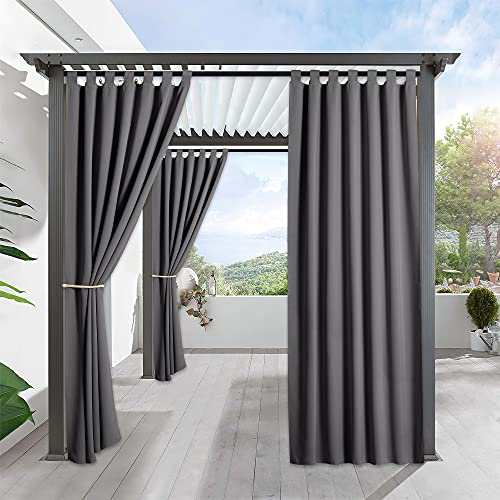 your zone home patio curtains RYB HOME Patio Curtains Outdoor - Portable Exterior Blackout Shades Window Treatment Tab Top Windproof Waterproof Outdoor Indoor Privacy Curtain Drape, 1 Panel, Wide 52 by Long 84 Inch, Grey