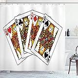 N\A Queen Duschvorhang, Queens Poker Set Gesichter Herzen & Pik Gambling Theme Spielkarten, Stoff Stoff Badezimmer Dekor Set mit Haken, Gelb Schwarz