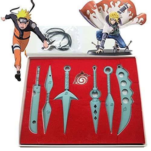 Enemy New Material 7-PCS Conjunto Cosplay, Naruto Niños Animación para Adultos Cos Conjunto de Arma Props Kakashi Cosplay Accesorios de Disfraces Naruto Shuriken Metal Toy Cosplay 13cm