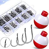 500 Pieces Fishing Hooks High Carbon Steel Jig Bait Fish Hook with 20 Pieces Fishing Float 1 Inch Red and White Fishing Bobber