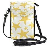 Billetera amarilla del monedero del teléfono celular del patrón de estrellas para las mujeres de la muchacha pequeña Crossbody