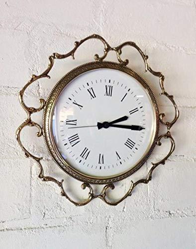 Artissimo Wanduhr Messing Gold Barock Uhr Quarz Rund 35cm Wanddeko Wanduhr Jugendstil