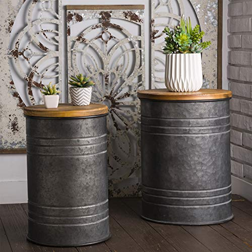 Glitzhome Rustic Storage Bins Accent End Table Home Furniture Galvanized Metal Stool Ottoman Seat with Round Wood Lid Set of 2