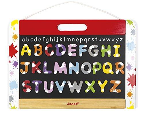 Janod - Ardoise Murale pour Enfant en Bois Splash - Double Face - 26 Magnets Incluses - Apprentissage Ecriture et Lecture - Dès 3 Ans, J09613