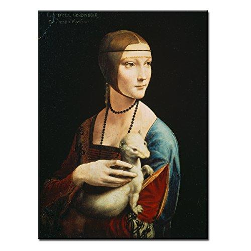 WANDKINGS Leinwandbild Die Dame mit dem Hermelin von Leonardo da Vinci / 30 x 40 cm/auf Keilrahmen