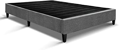 MODAA Solid Pine Wood King Single Size Bed Base Frame Mattress Platform, Breathable and Non-Woven Fabric, Easy Assemble, Grey