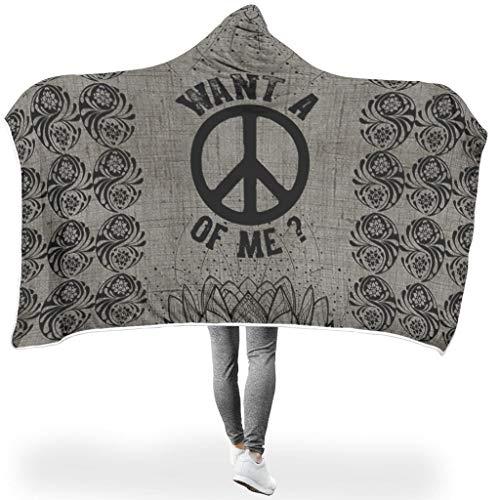 Dofeely Peace PrintedWearable Tapisserie Hooded Throw Wrap Peace Soft-Mantel Wohndecke Kuscheldecke Schlafdecke Winter Computer Fleecedecke Für Erwachsene White 150x200cm