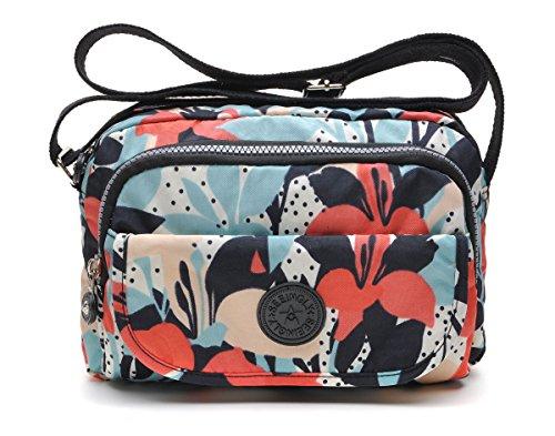 tuokener Bolso de Mujer Bandolera Bolsillos Impermeable Bolsos Pequeños Bandoleras Bolsa para Viaje Crossbody Bag Nylon Waterproof,Rojo