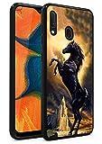 Galaxy A10E Case, Galaxy A20E Case, Black Cool Horse Design Soft Silicone TPU Bumper Case Microfiber Anti-Scratch Shockproof Full-Body Protective Cover for Samsung Galaxy A10E / A20E (2019) 5.8
