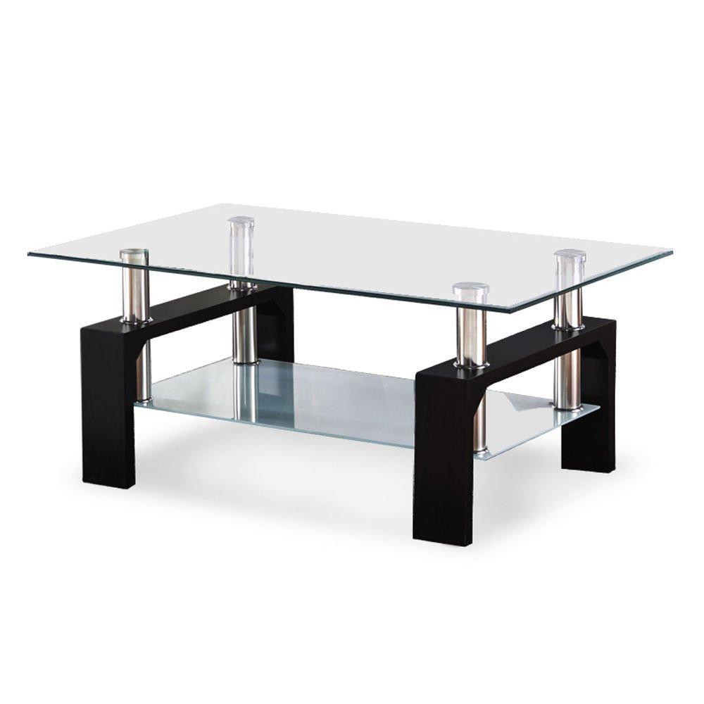 Amazon Com Glass Coffee Table Wood Chrome Set Black Rectangular Living Room Furniture Kitchen Dining