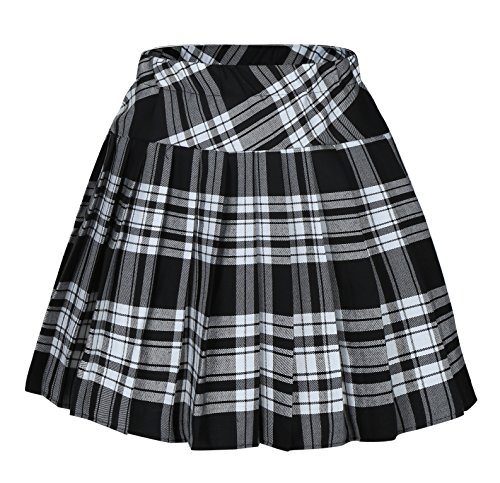 Women's Short Plaid Elasticated Pleated Skirt School Uniform, White Mixed Black, Small