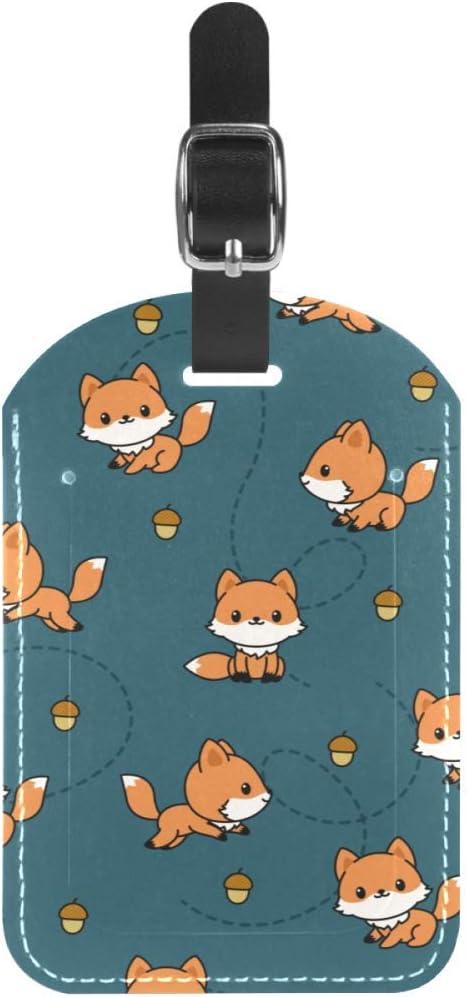 TIZORAX Etiquetas de equipaje juguetón zorros de piel para maleta de viaje, 1 paquete