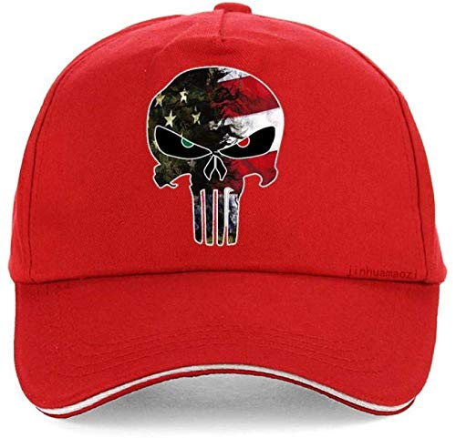 caomingxuan Men's Hat Punisher Skull Navy Seals Baseball Cap Fashion American Flag Camouflage Adjustable Hat-Red