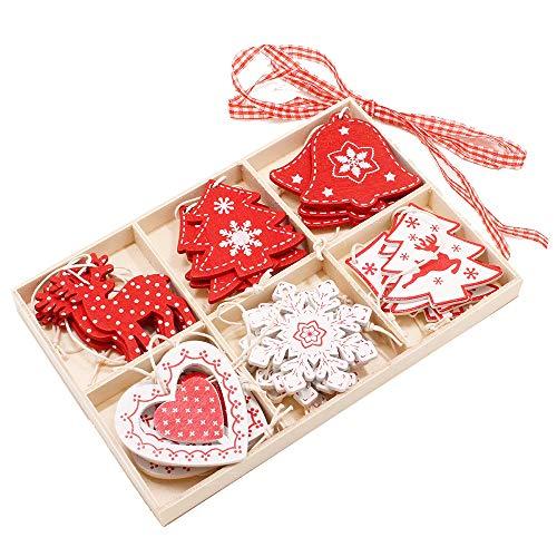 kungfu Mall Assortiti Decorazioni per Appendere L'Albero di Natale in Legno Rosso e Bianco per Oggetti di Decorazione per Alberi di Natale Piccoli Regali (24 Pezzi)