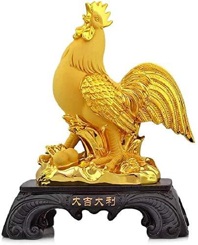 AINIYF Suerte Resina Oro del Zodiaco Gallo Estatua Plateado la decoración del hogar de Colección del Ornamento del Encanto de la Prosperidad