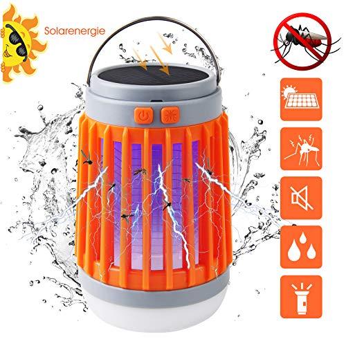 3 in 1 Insektenvernichter Elektrische Mückenfalle Moskito Killer Licht mit Taschenlampe Campinglampe, IP67 Tragbare LED Mückenlampe gegen Moskitos, USB / Solar Wiederaufladbar für Innen und Außen