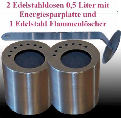 2 boîtes de carburant en acier inoxydable (0,5 litres) / Plaques d'économie d'énergie / 1 Flamme-Extincteur