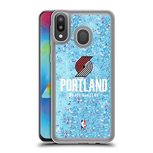 Officiële NBA Gewoon Portland Trail Blazers 2 Lichtblauw Clear Hybrid Vloeibare Glitter Compatibel voor Samsung Galaxy M20 (2019)