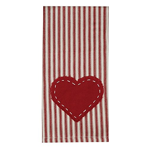 Farmhouse Valentine decor ideas kitchen towel with red and white stripe heart.