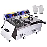 PNR Commercial Electric 23.4L Deep Fryer Dual Tanks with Timers and Drains Reset Button French Fry Restaurant