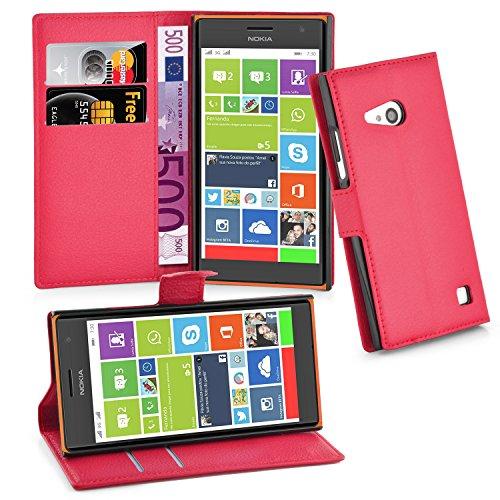 Cadorabo Hülle für Nokia Lumia 730 - Hülle in Karmin ROT – Handyhülle mit Kartenfach & Standfunktion - Case Cover Schutzhülle Etui Tasche Book Klapp Style