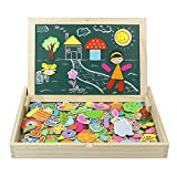 jerryvon 160 Pièces Puzzle Enfant en Bois Magnétique Jeu Montessori Educatif Cadeau Tableau Aimanté pour Garcon Fille 3 4 5 6 Ans