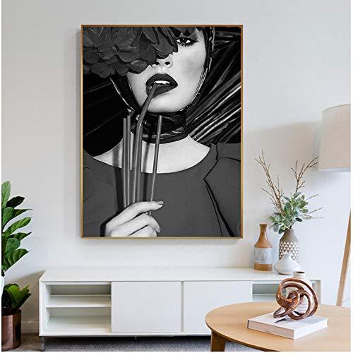 cptbtptp Joli Beizmittel fille Plante Toile peinture Noir und Blanc affiche mur Art Pour Salon chambre50x70cm