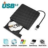 Umiten Externes DVD-Laufwerk, tragbarer DVD-CD-ROM-Brenner mit Integriertem USB-Kabel...