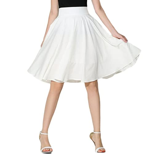 58b18bf1cd PERSUN Women s Solid Flared High Waist Pleated Midi Skater Skirt