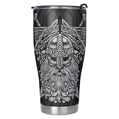 Wingard Leviosar Botella de acero inoxidable para mi hijo Viking Odin Never Feel That Tumbler con aislamiento al vacío, resistente a las manchas, taza de café con tapa, color blanco 900 ml