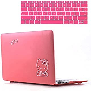 Rinbers Pink Hello Kitty Rubberized Hard Shell Cover Case Frosted with Keyboard Skin for New MacBook Pro 13 Retina W W/O Touch Bar/ID A1706 A1708
